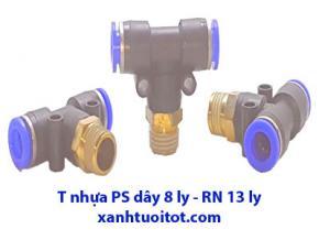 PS - T nhựa dây 8 ly RN 13 - T nhựa phun sương dây 8 ly ren ngoài 13 ly