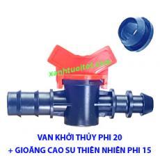 Van khởi thủy 20 ống LDPE cùng gioăng cao su thiên nhiên phi 15