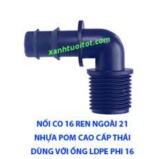 Nối co 16 ren ngoài 21 dùng cho ống LDPE 16