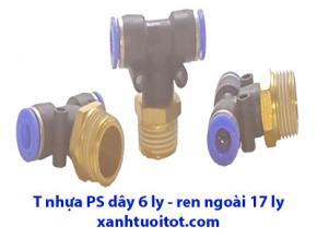 PS - T nhựa dây 6 ly RN 17 ly - T nhựa phun sương dây 6 ly - ren ngoài 17 ly
