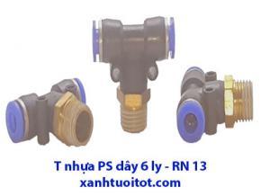 PS - T nhựa dây 6 ly - RN 13 T nhựa phun sương dây 6 ly ren ngoài 13