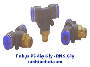 PS - T dây 6 ly RN 9,6 - T nhựa phun sương dây 6 ly ren ngoài 9,6 ly