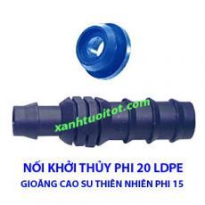 Nối khởi thủy phi 20 ống LDPE cùng gioăng cao su thiên nhiên phi 15