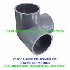 CO GÓC 3 HƯỚNG PHI 49 NHỰA PVC - DÀY 3 MM