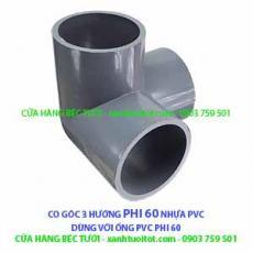 CO GÓC 3 HƯỚNG PHI 60 NHỰA PVC - DÀY 3 MM
