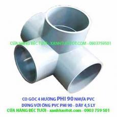 CO GÓC 4 HƯỚNG PHI 90 NHỰA PVC - DÀY 4,5 MM
